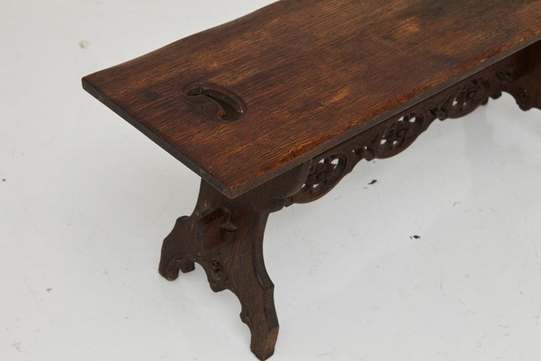 19th Century Austrian Hand Carved Rustic Trestle Oak Bench For Sale 7