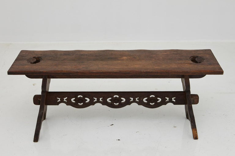 19th Century Austrian Hand Carved Rustic Trestle Oak Bench For Sale 8