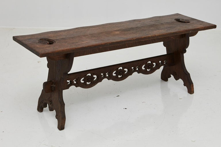 19th Century Austrian Hand Carved Rustic Trestle Oak Bench In Good Condition For Sale In Weston, CT