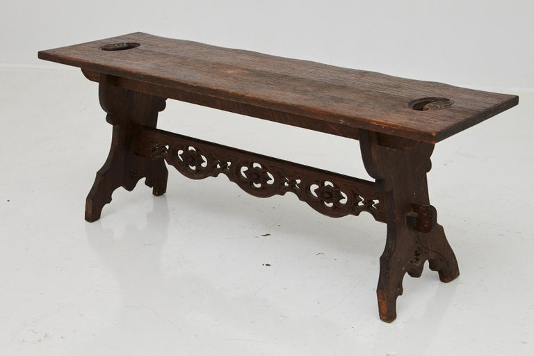 19th Century Austrian Hand Carved Rustic Trestle Oak Bench For Sale 1