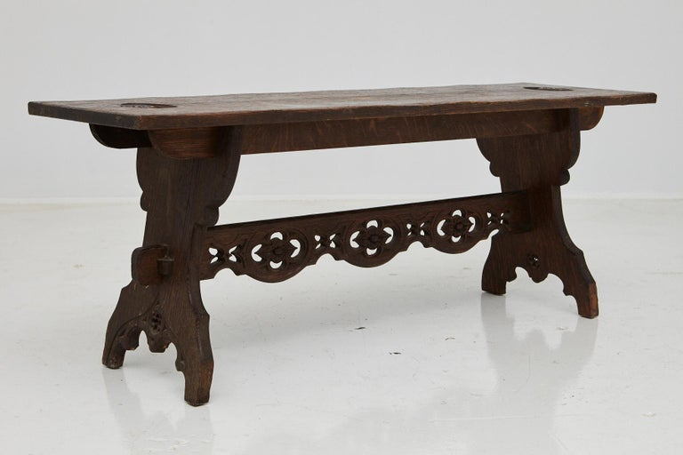 19th Century Austrian Hand Carved Rustic Trestle Oak Bench For Sale 2