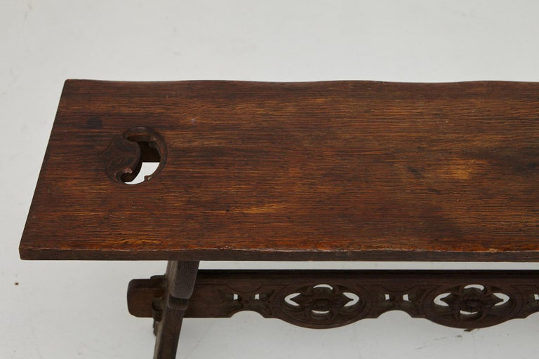 19th Century Austrian Hand Carved Rustic Trestle Oak Bench For Sale 3