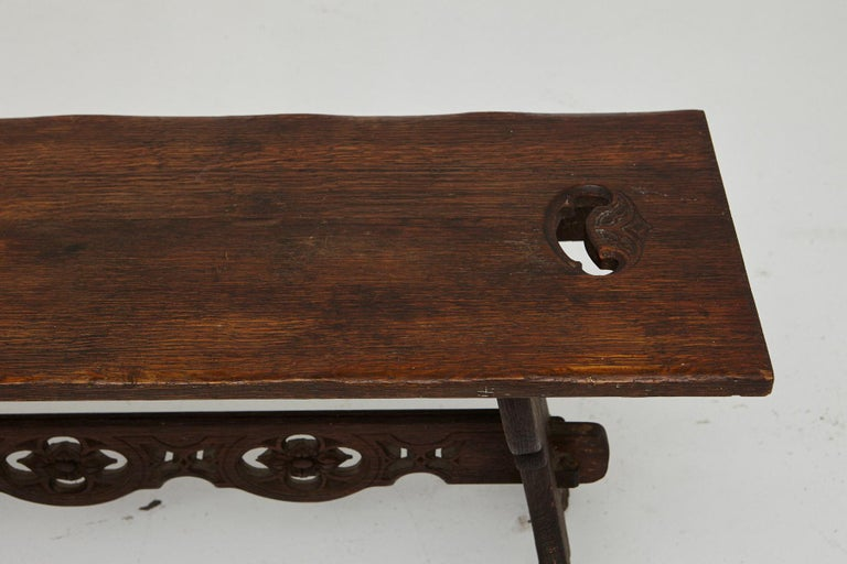 19th Century Austrian Hand Carved Rustic Trestle Oak Bench For Sale 4