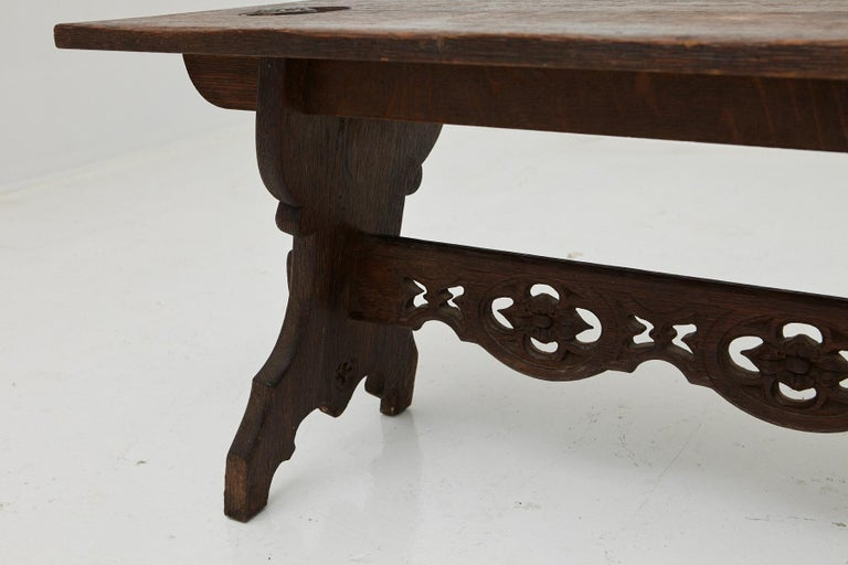 19th Century Austrian Hand Carved Rustic Trestle Oak Bench For Sale 5