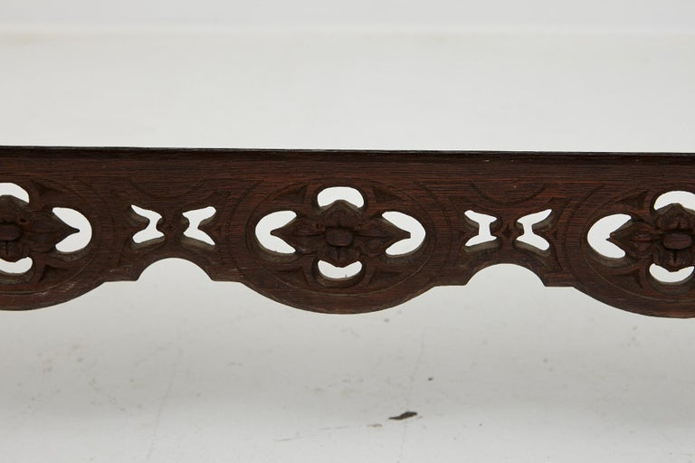 19th Century Austrian Hand Carved Rustic Trestle Oak Bench For Sale 6