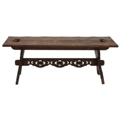 19th Century Austrian Hand Carved Rustic Trestle Oak Bench