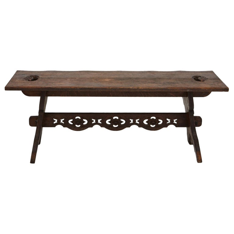 19th Century Austrian Hand Carved Rustic Trestle Oak Bench For Sale
