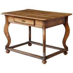 19th Century Austrian Library or Farm House Table with Box Stretcher, circa 1810