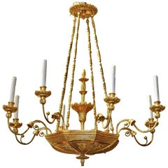 19th Century Austrian Neoclassical Giltwood Chandelier