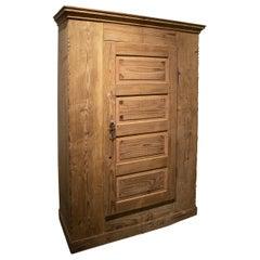 19th Century Austrian One Door Lime Washed Wooden Wardrobe