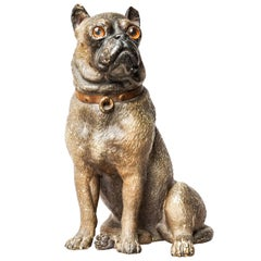 19th Century Austrian Seated Ceramic Bulldog with Red Collar and Glass Eyes