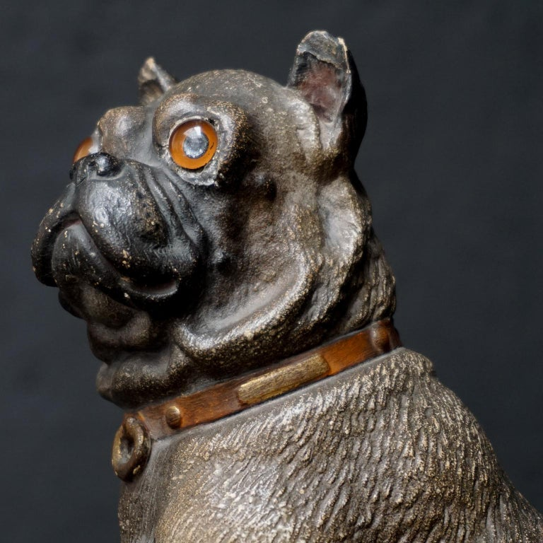 19th Century Austrian Seated Ceramic Pug Dog with Red Collar and Glass Eyes For Sale 4