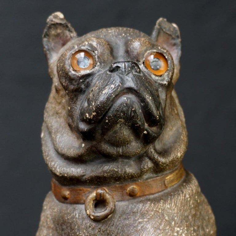 19th Century Austrian Seated Ceramic Pug Dog with Red Collar and Glass Eyes For Sale 5