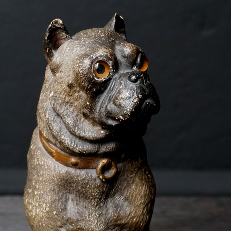 19th Century Austrian Seated Ceramic Pug Dog with Red Collar and Glass Eyes For Sale 6