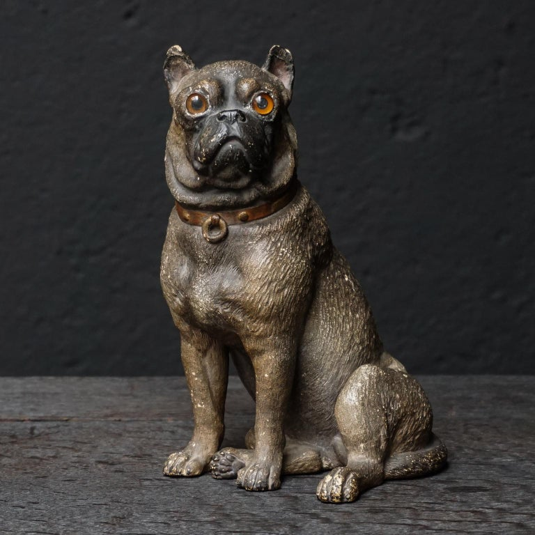 I found this very lovely Austrian cold painted terracotta model of a Pug Dogie in seated position with little red collar adorned with gold painted studs and ring, from late 19th century and immediately thought of it probably looking great with my