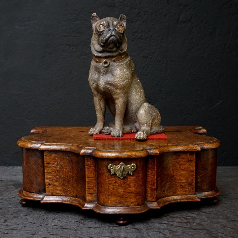 Victorian 19th Century Austrian Seated Ceramic Pug Dog with Red Collar and Glass Eyes For Sale