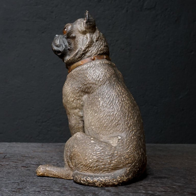 Terracotta 19th Century Austrian Seated Ceramic Pug Dog with Red Collar and Glass Eyes For Sale