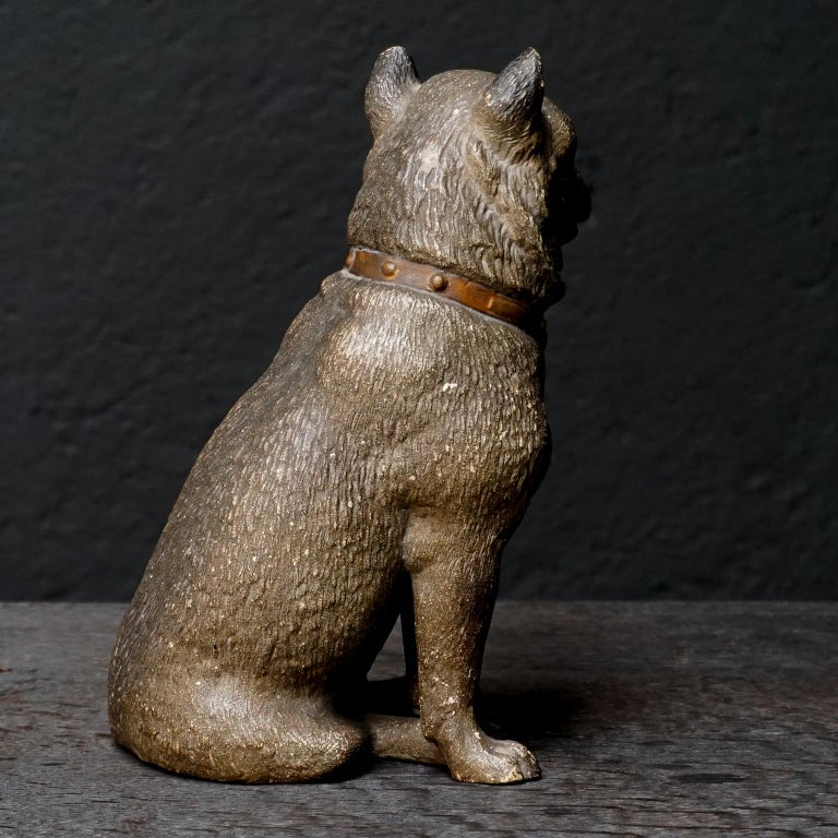 19th Century Austrian Seated Ceramic Pug Dog with Red Collar and Glass Eyes For Sale 2
