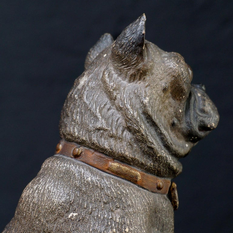 19th Century Austrian Seated Ceramic Pug Dog with Red Collar and Glass Eyes For Sale 3