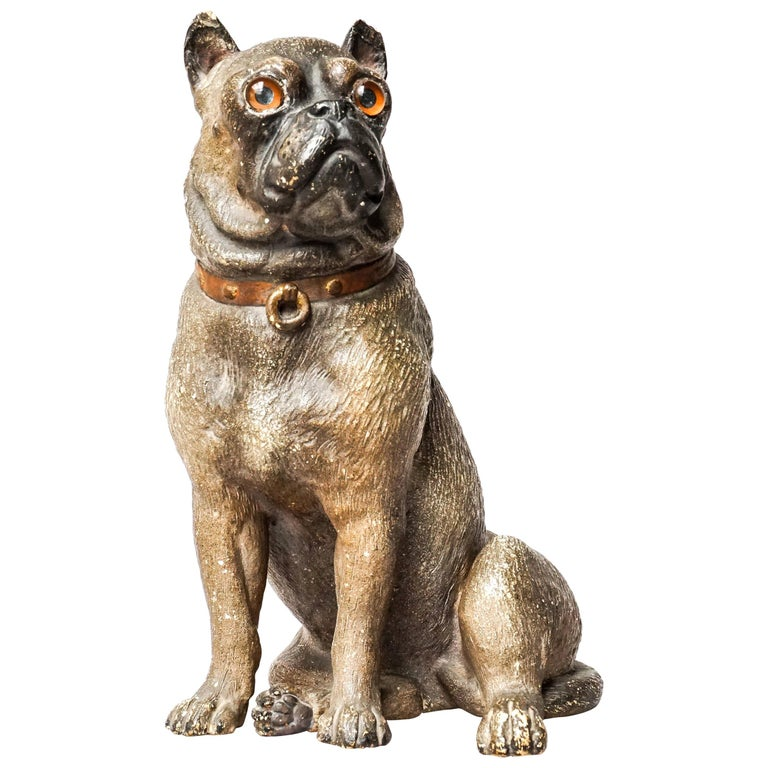 19th Century Austrian Seated Ceramic Pug Dog with Red Collar and Glass Eyes For Sale