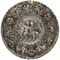 19th Century Austrian Silver Dish Repoussé with Children and Grottesques