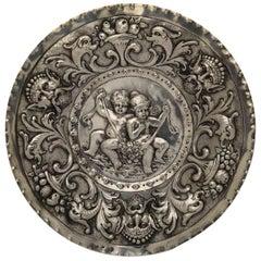 19th Century Austrian Silver Dish Repoussé with Kids Flowers Masks