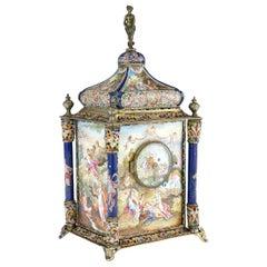 19th Century Austrian Silver-Gilt & Enamel Mantel Clock, Rudolf Linke circa 1890