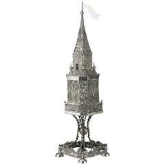 19th Century Austrian Silver Spice Tower