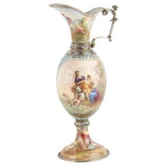 19th Century Austrian Solid Silver and Enamel Ewer, Hermann Bohm, circa 1880