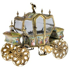 19th Century Austrian Solid Silver-Gilt and Enamel Carriage, Vienna, circa 1890