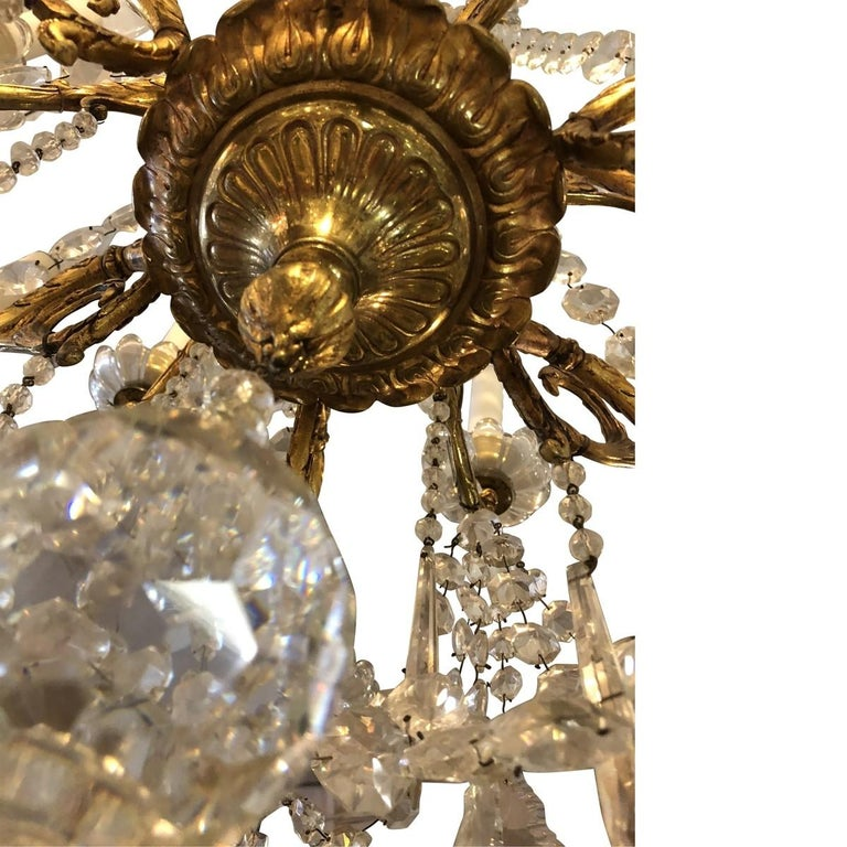 Rococo Revival 19th Century Baccarat 12-Light Crystal and Bronze Chandelier For Sale