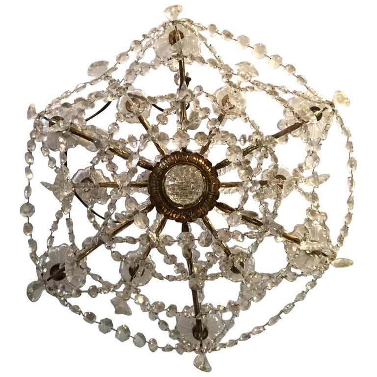 19th Century Baccarat 12-Light Crystal and Bronze Chandelier In Good Condition For Sale In Pasadena, CA