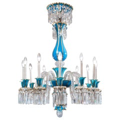 19th Century Baccarat Blue Opaline 12-Light Crystal Chandelier