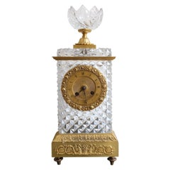 19th Century Baccarat Crystal Clock Signed Oudin Student of Breguet