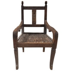 19th Century Balinese Throne Chair with Cane Seat
