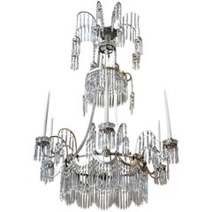 19th Century Baltic Neoclassical Silvered Chandelier