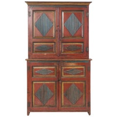 19th Century Baltic Painted Pine Cupboard
