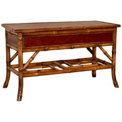 19th Century Bamboo and Leather Table