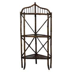 19th Century Bamboo Corner Shelf