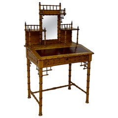 19th Century Bamboo & Leather Lift Top Writing Desk