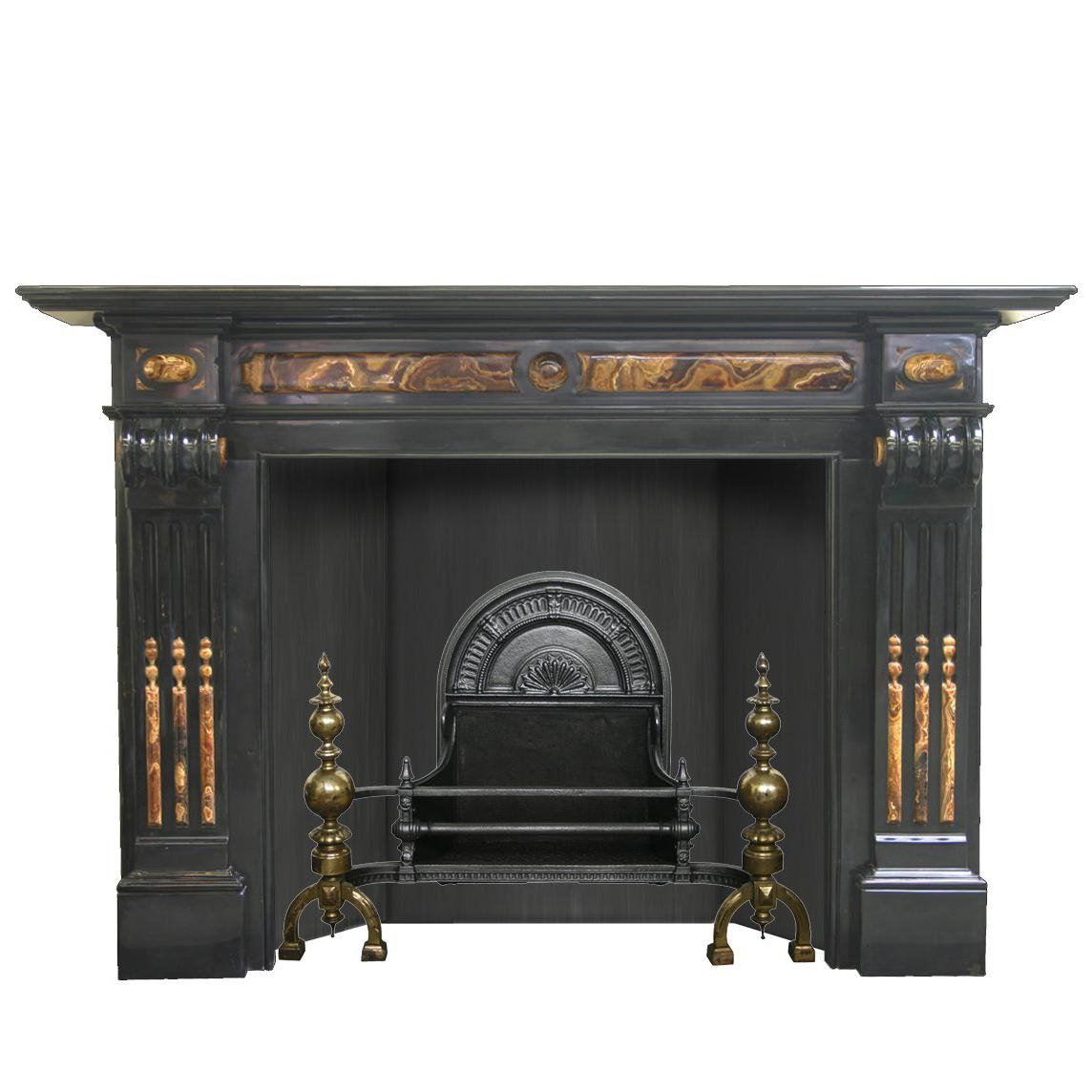 19th Century Baroque Belgian Black Marble and Onyx Chimneypiece
