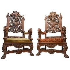 19th Century Baroque Revival Carved Walnut Armchair, Set of Two