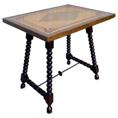 19th Century Baroque Spanish Side Table with Marquetry & Painted Top