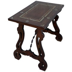 19th Century Baroque Spanish Side Table with Marquetry Top and Lyre Carved Legs