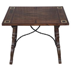 19th Century Baroque Spanish Side Table with Marquetry Top