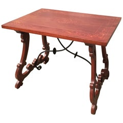 19th Century Baroque Spanish Side Table with Marquetry Top & Lyre Legs