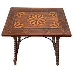 19th Century Baroque Spanish Side Table with Marquetry Top & Turned Legs