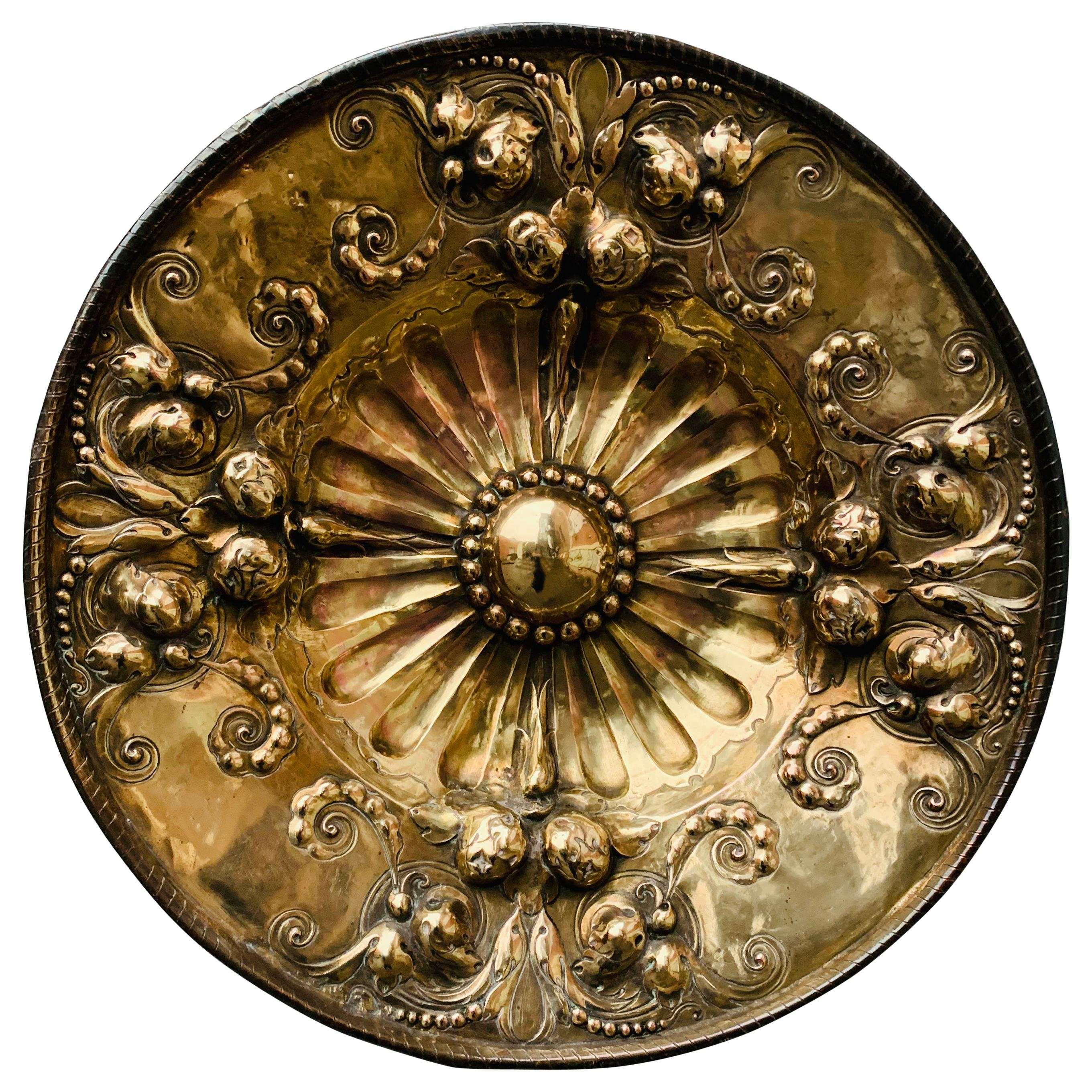 19th Century Baroque Style Baptismal Charger in Brass