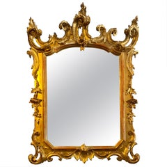 19th Century Baroque Style Carved Gold Gilt Mirror, Lombardo Veneto, circa 1810