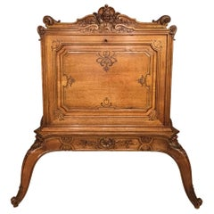 19th Century Baroque Style French Walnut and Parcel Gilt Folio Cabinet